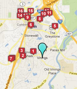 Map of Vinings, GA hotels