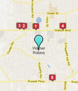 Map of Warner Robins, GA hotels