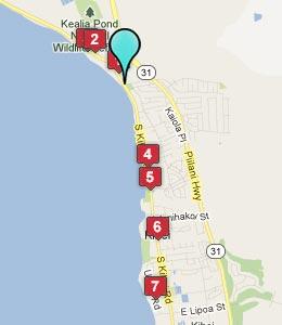 Map of Hotels around Kihei, Maui, Hawaii
