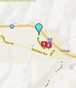 Map of Kellogg, ID hotels