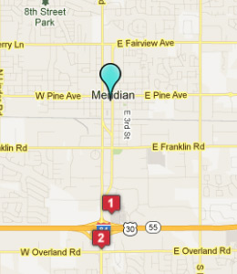 Map of Meridian, ID hotels