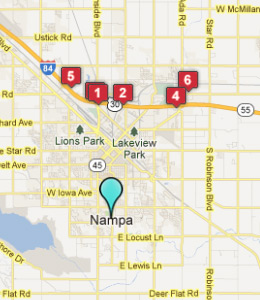 Map of Nampa, ID hotels