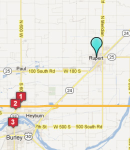 Map of Rupert, ID hotels