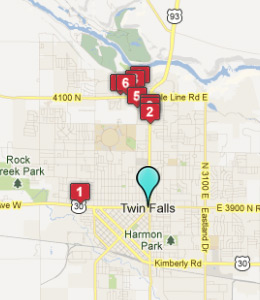 Map of Twin Falls, ID hotels