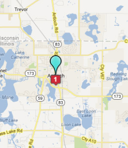 Map of Antioch, IL hotels
