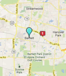 Map of Bartlett, IL hotels