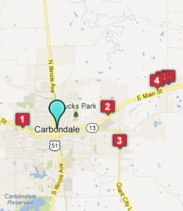 Map of Carbondale, IL hotels
