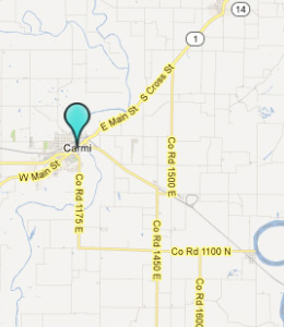 Map of Carmi, IL hotels