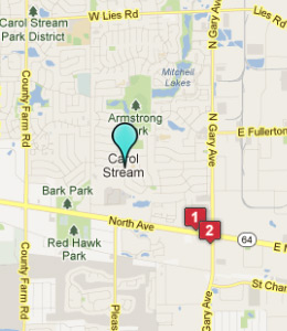Map of Carol Stream, IL hotels