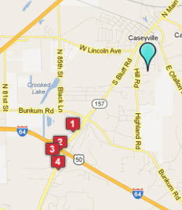 Map of Caseyville, IL hotels
