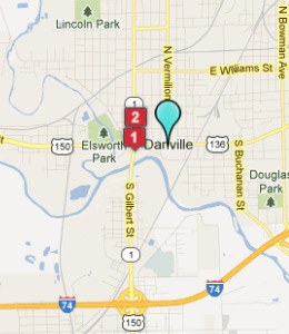 Map of Danville, IL hotels
