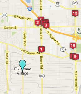 Map of Elk Grove Village, IL hotels