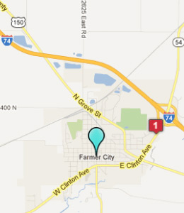 Map of Farmer City, IL hotels
