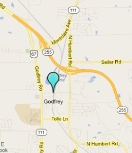 Map of Godfrey, IL hotels