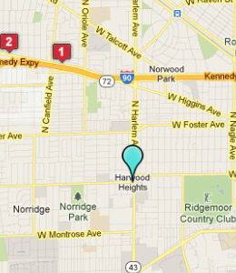 Map of Harwood Heights, IL hotels