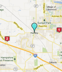 Map of Huntley, IL hotels
