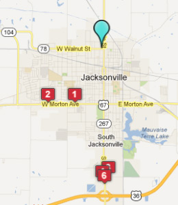 Map of Jacksonville, IL hotels