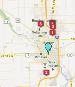 Map of Kankakee, IL hotels
