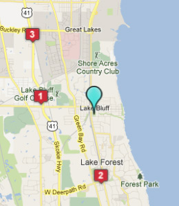 Map of Lake Bluff, IL hotels