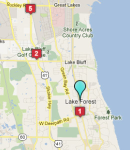 Map of Lake Forest, IL hotels
