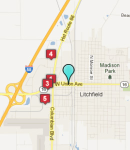 Map of Litchfield, IL hotels