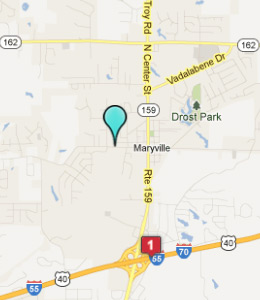 Map of Maryville, IL hotels