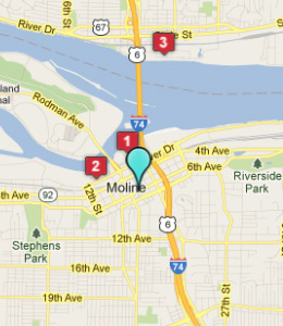 Map of Moline, IL hotels