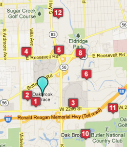 Map of Oakbrook Terrace, IL hotels