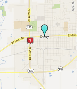 Map of Olney, IL hotels
