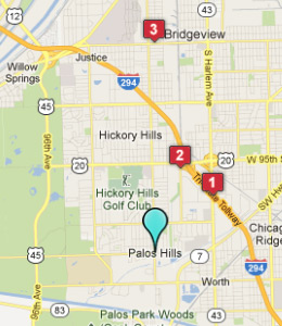 Map of Palos Hills, IL hotels