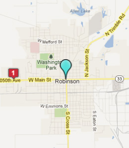 Map of Robinson, IL hotels