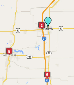 Map of Salem, IL hotels