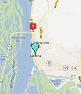 Map of Savanna, IL hotels