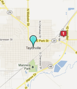 Map of Taylorville, IL hotels