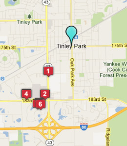 Map of Tinley Park, IL hotels