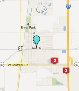 Map of Tuscola, IL hotels