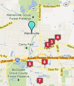 Map of Warrenville, IL hotels