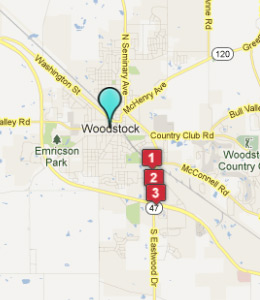 Map of Woodstock, IL hotels