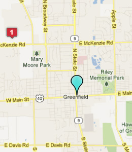 Map of Greenfield, IN hotels