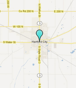 Map of Hartford City, IN hotels