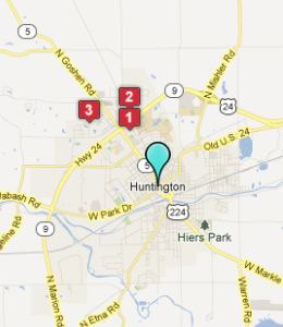 Map of Huntington, IN hotels