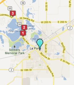 Map of La Porte, IN hotels