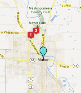 Map of Marion, IN hotels