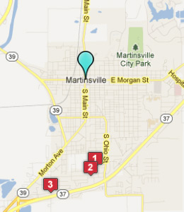 Map of Martinsville, IN hotels