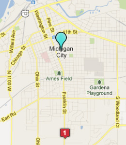Map of Michigan City, IN hotels