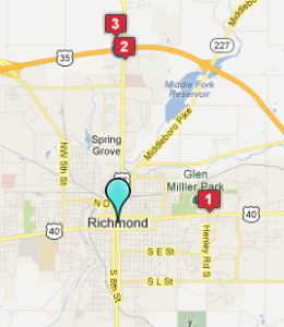 Map of Richmond, IN hotels