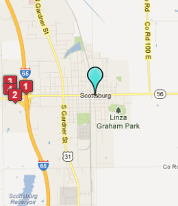 Map of Scottsburg, IN hotels