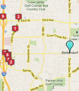 Map of Bettendorf, IA hotels
