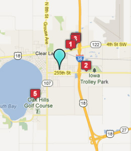Map of Clear Lake, IA hotels