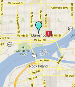 Map of Davenport, IN hotels